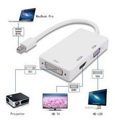 adaptador 3 en 1 video mini display port a hdmi dvi vga mac, mania-electronic