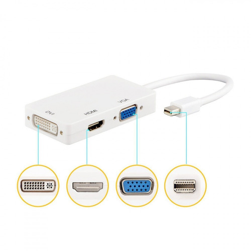 adaptador 3 n 1 thunderbolt mini display port a hdmi vga dvi