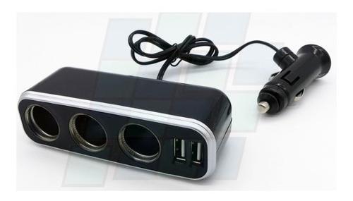 adaptador 3 puertos+ 2usb 3.1amp carga celulares gps 12v 24v
