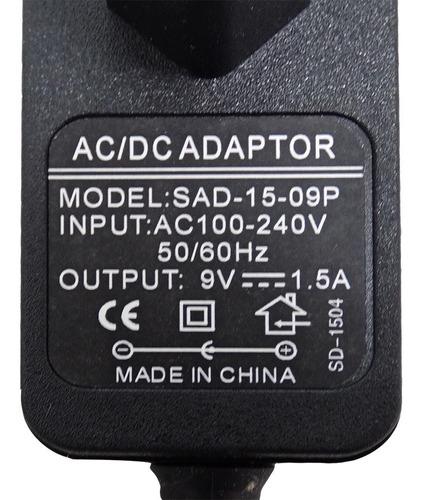 adaptador 9v 1,5a cabo 1,8 metros - sad-15-09p