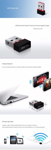 adaptador antena wifi usb mini 150 mbps pc laptop nuevo