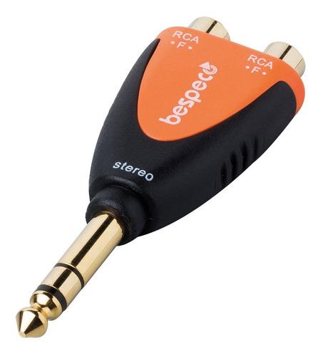 adaptador bespeco slad370 ficha plug estereo a 2 rca hembra