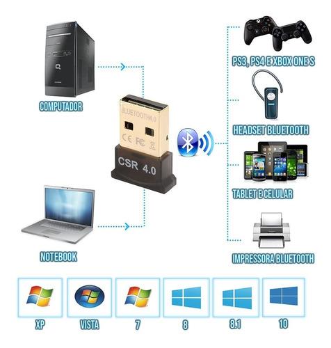 adaptador bluetooth 4.0 pra controle xbox one ps3 ps4 pra pc