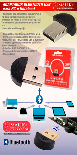 adaptador bluetooth usb para pc notebook nuevo