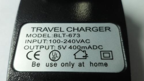 adaptador cargador 220v a usb 400ma pata oblicua 9034