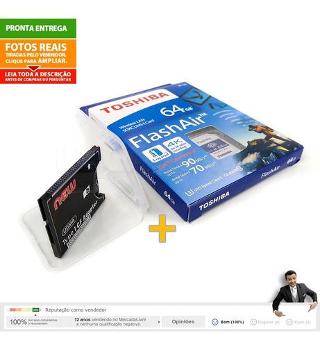 adaptador cf para sd + sd wifi 64gb w04 flashair toshiba nc