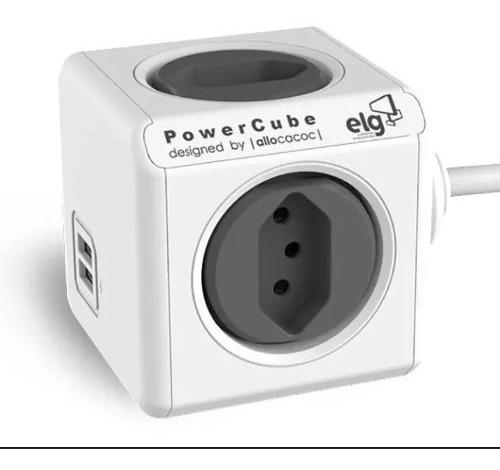 adaptador com cabo 1,5m 4 tomadas 10a 2 usbs celular