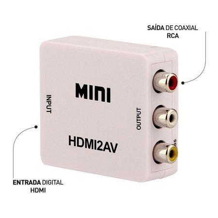 adaptador conversor hdmi para rca vídeo composto 3rca av