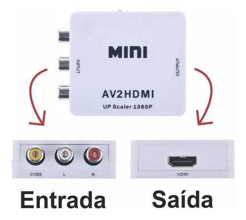 adaptador conversor rca/áudio e vídeo para hdmi