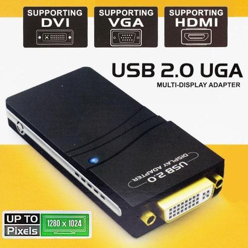 adaptador conversor usb 2.0 vga/dvi/hdmi multipantalla 1080p