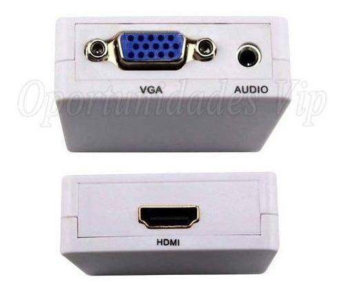 adaptador conversor vga a hdmi full hd vga2hdmi audio video