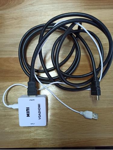 adaptador conversor vga a hdmi fullhd 1080 + cable hdmi