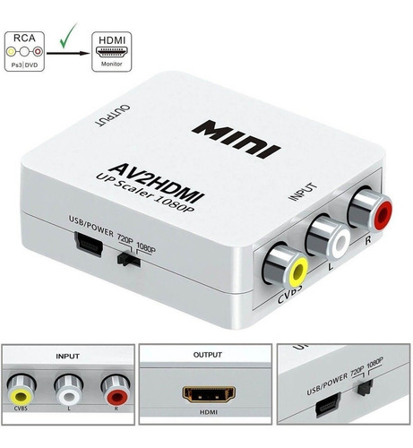 adaptador conversor video composto 3 rca av p/ hdmi novo