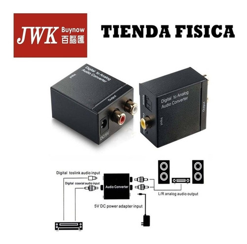 adaptador convertidor audio digital to analog rca jwk vision