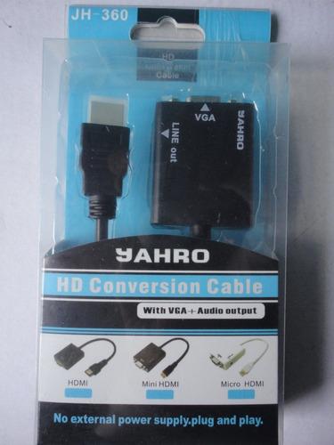 adaptador convertidor de hdmi a vga c/salida de audio