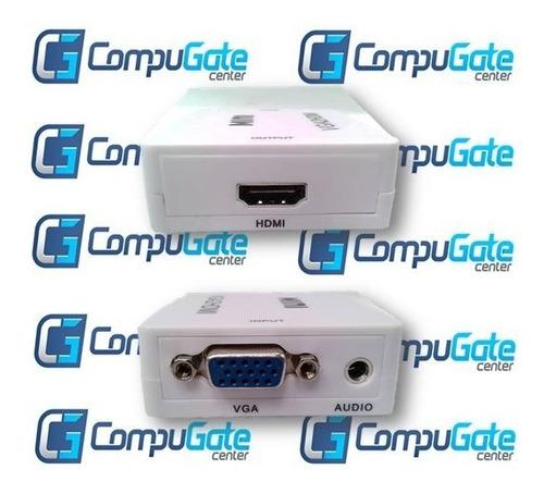 adaptador convertidor de vga a hdmi tv monitor con audio