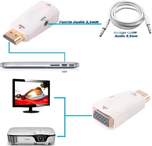 adaptador convertidor hdmi a vga + audio tv pc laptop