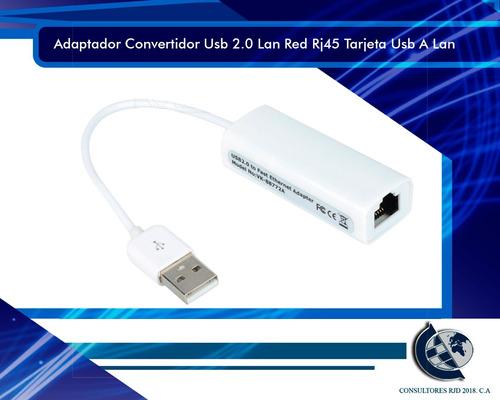adaptador convertidor usb 2.0 lan red rj45 tarjeta usb a lan