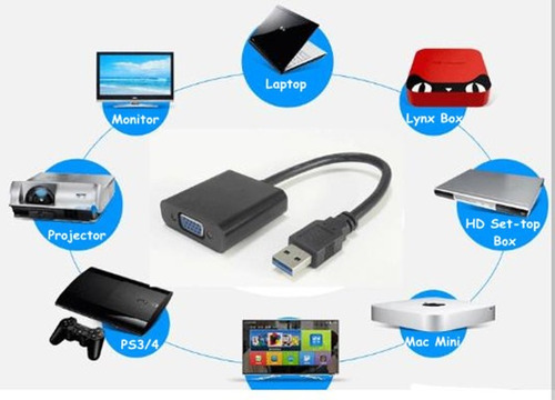 adaptador convertidor usb 3.0 a vga pc laptop proyector