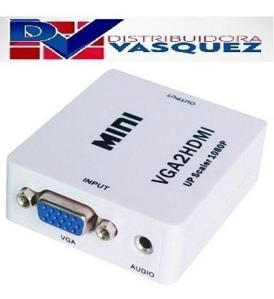 adaptador convertidor vga a hdmi con audio completo