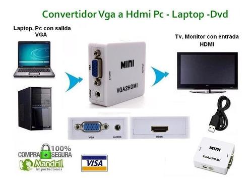 adaptador convertidor vga a hdmi con audio hd pc laptop 1080