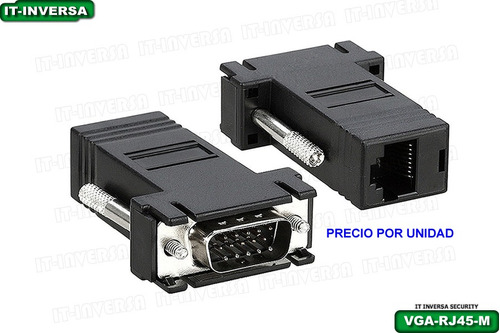 adaptador convertidor vga a rj45 x cable utp (macho) unid