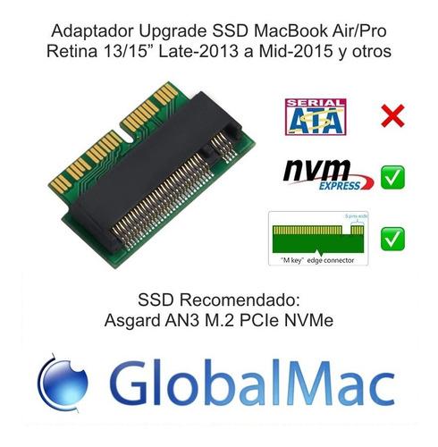 adaptador corto ssd m.2 pcie nvme para mac 2013-2017 + p5 t5