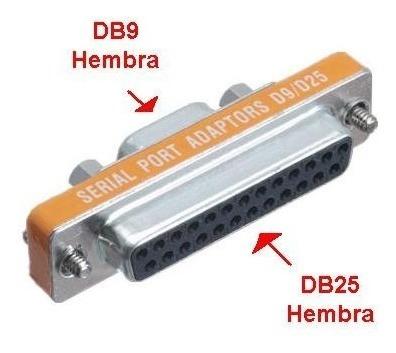 adaptador db9 serial hembra a db25 hembra centro csydee pc