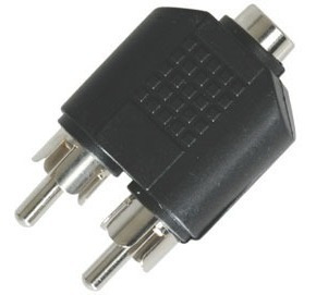 adaptador de 2 plugs rca a jack 3.5 mm estereo