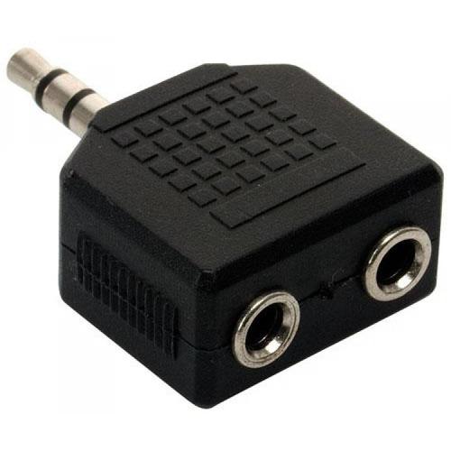 adaptador de áudio p2 macho p/ duas saída p2 femea conector