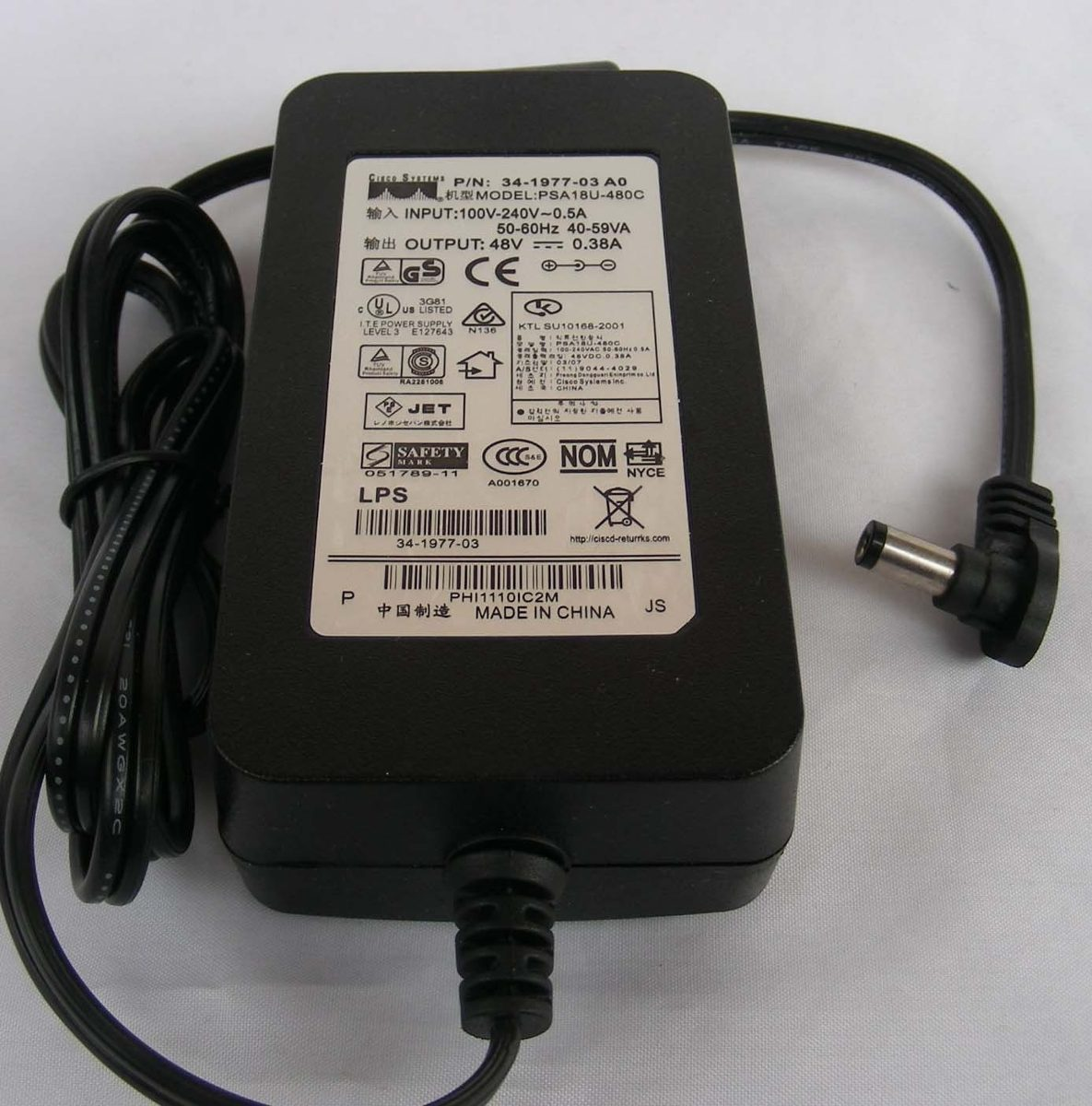 Adaptador De Corriente Cisco 7942 7945 7965 7940 Dc 48v 0 38