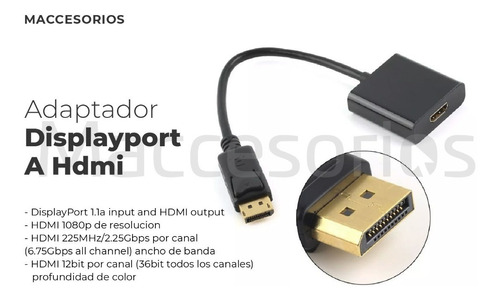 adaptador de displayport a hdmi / display port