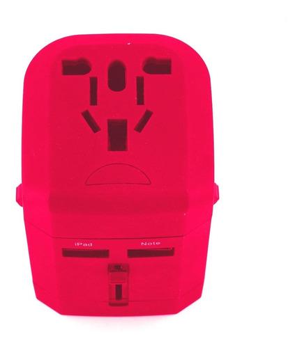 adaptador de enchufe universal para viajes fiddler - rosa