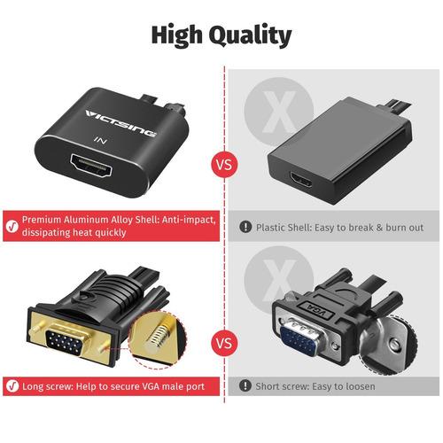 adaptador de hdmi a vga de victsing con cable de audio