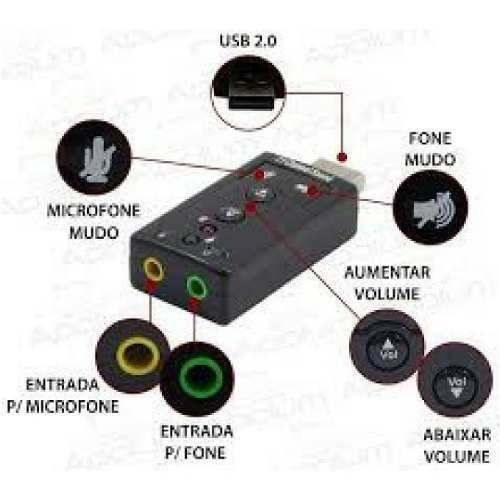 adaptador de som usb 2.0 externo virtual 7.1 canais