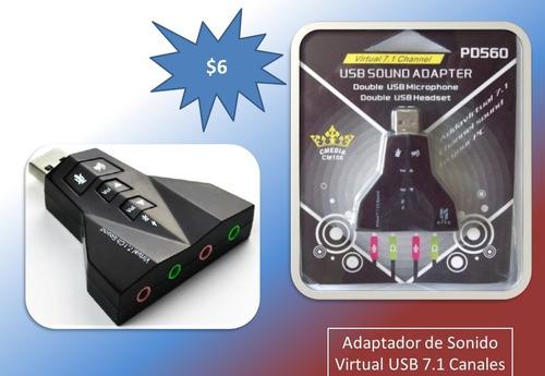 adaptador de sonido usb 7,1 canales