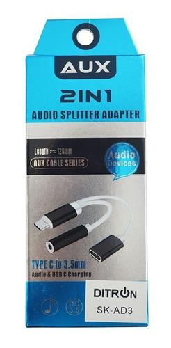 adaptador de tipo c a audio 3,5mm + usb xiaomi ditron huawei