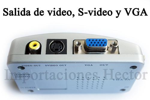 adaptador de vga a rca, s-video utiliza tu tv como monitor