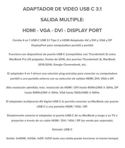 adaptador de video usb c 3.1 salida multiple hdmi vga dvi dp