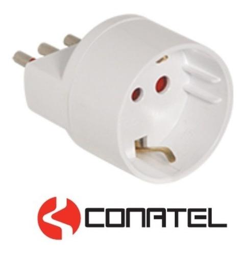 adaptador derivador schuko modular conatel - lámparas uy