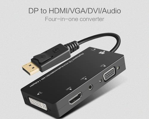 adaptador displayport a hdmi dvi vga audio 4 en 1 full hd 4k