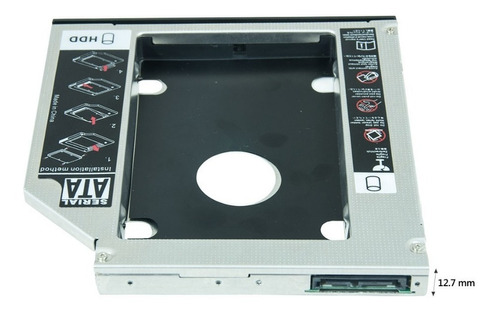 adaptador dvd p/ hd ou ssd sata notebook drive caddy 12,7mm