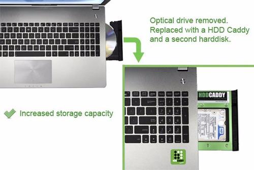 adaptador dvd p/ hd ssd sata notebook drive caddy 9,5mm t41