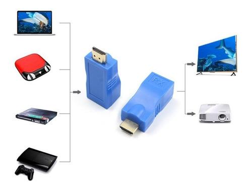 adaptador ethernet lan transmisor hdmi extender tx / rx 30m