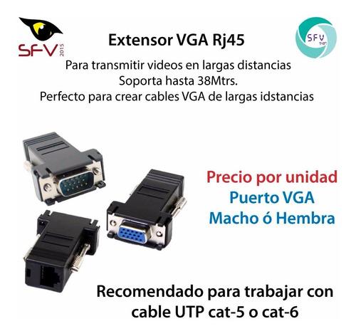 adaptador extencion vga hembra a rj45 38 mts video x4