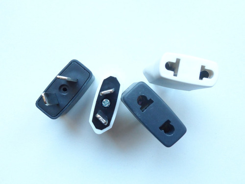 adaptador ficha 2 patas planas a 2 americanas ideal celular