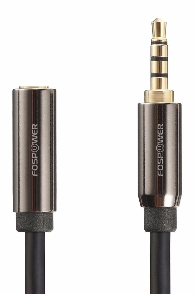 3.5mm Male to 3.5mm Female Auxiliary 4-Conductor TRRS Stereo Audio Extension Cable 4 Inch FosPower 24K Gold Plated Connectors
