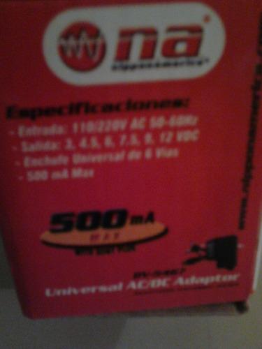 adaptador graduable de 3 a 12 voltios 500 ma