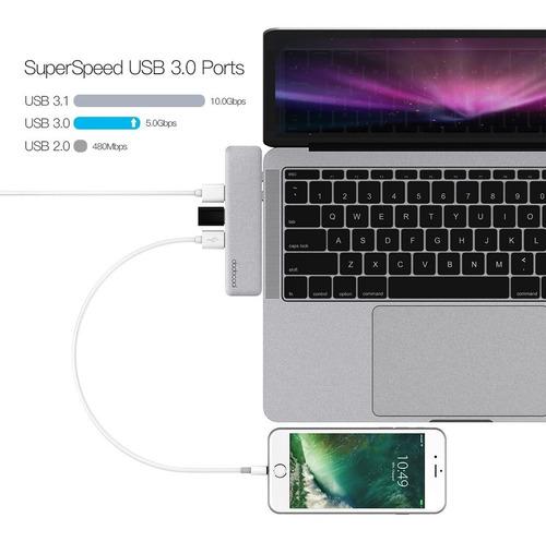 adaptador hub macbook pro usb tipo c 4k hdmi thunderbolt 3