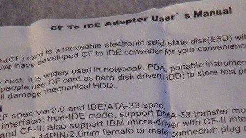 adaptador ide  /  flash